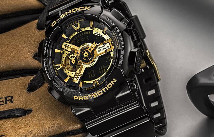 CASIO 卡西欧 G-SHOCK 防水运动 黑金手表 男女同款 GA-110GB-1A-