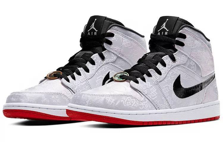 """【明星同款】Edison Chen x Air Jordan 1 Mid """"Fearless"""" 陈冠希联名 白丝绸 铜钱 篮球鞋 CU2804-100-"""