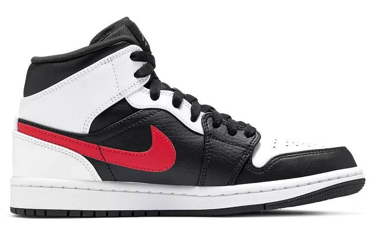 乔丹 Air Jordan 1 Mid 黑白熊猫 红钩 男女同款 554724-075-