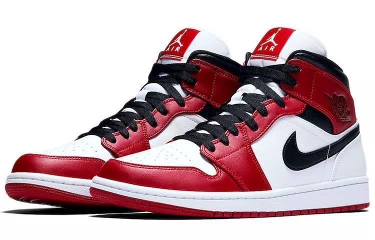"""乔丹 Air Jordan 1 Mid """"Chicago"""" 白红 小芝加哥 554724-173-"""